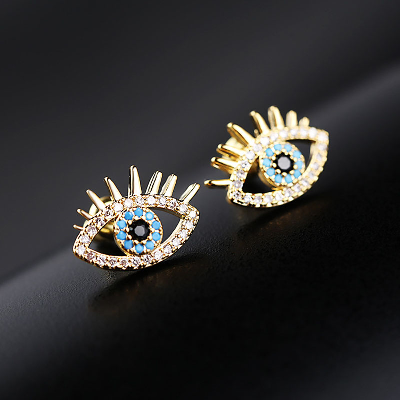 Tiny Trendy Gold plating Evil Eyes Earrings Luxury High quality Cubic Zirconia crystal Stud Earrings For Women aretes de piedra