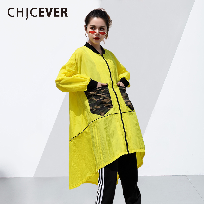 CHICEVER 2018 Spring Summer Trench Coat For Women Windbreaker Long Sleeve Patchwork Pocket Asymmetry Coats Clothes Fashion New