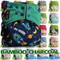 CARBÓN de leña de BAMBÚ Lavable Pañal de Tela Pañal Reutilizable Lavable Bebé Pañal de Tela de Bolsillo Del Pañal Del Bebé Inserta Cubierta de Plástico con Inserto