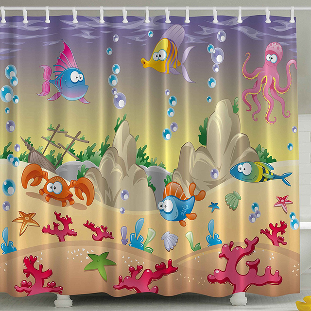 Kids Shower Curtain Cartoon Sea Animals Orange Crabs Family Decor Beach Blue Stars Octopus Shells Nautical