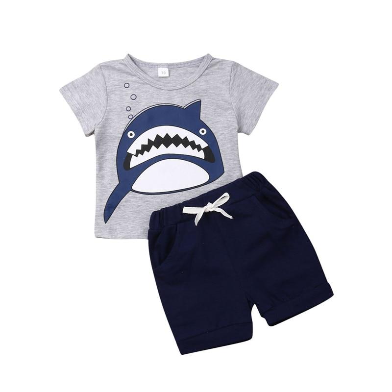 >0-3Y Newborn Infant Kid Baby Boy Cotton Shark <font><b>Short</b></font> Sleeve Tops T-shirt <font><b>Blouse</b></font> <font><b>Shorts</b></font> <font><b>Pants</b></font> Outfit Summer Boy Clothes Outifts