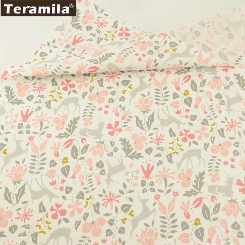 Teramila Fabric High Quality 100% Cotton Twill Material Printed Cartoon Flowers And Animals Pattern Scrapbooking Set Tecido CM