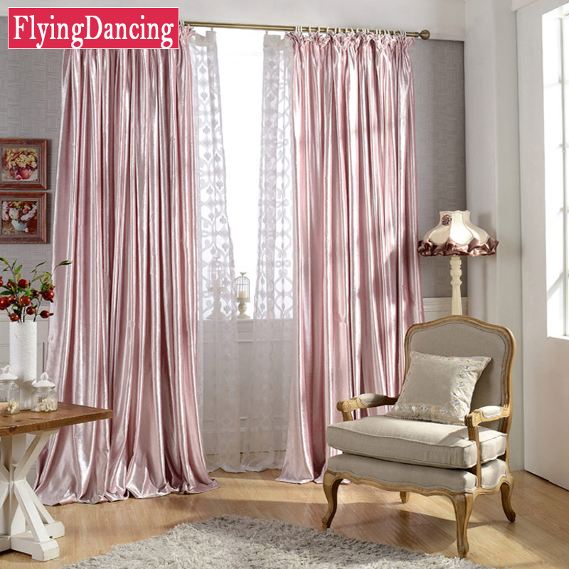 Pink Velvet Curtains For Bedroom Shiny Face Soft Curtain