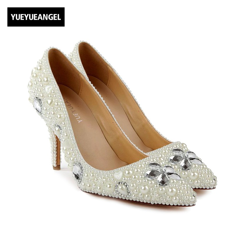 2018 Autumn New Hot Sale High Heel Shoes Slip On Pointed Toe For Women Bead Crystal Decoration Wedding Shoes Femme Pumps White sequined high heel stilettos wedding bridal pumps shoes womens pointed toe 12cm high heel slip on sequins wedding shoes pumps