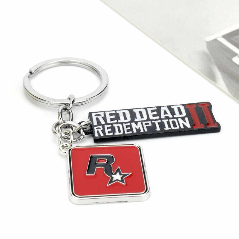 Takerlama Red Dead Redemption Jogo 2 Chaveiro Pingente de Metal Homens Mulheres Saco Chave Do Carro Cadeia Chaveiro Chave Anel Titular de Jóias