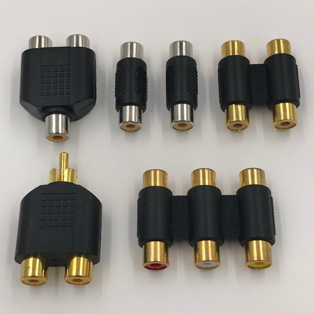RCA Connector Pack 2 to 1 Audio Adapter Three Gold Plated Nickel Converter 6 Pieces Free Shipping