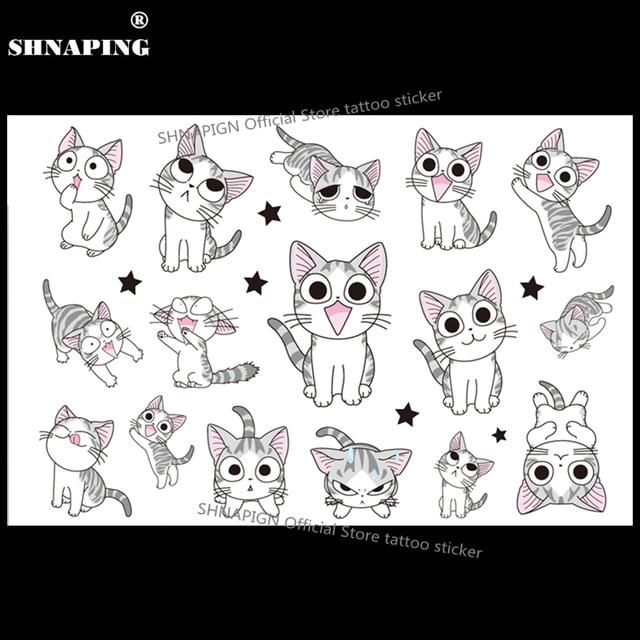 SHNAPIGN White Kitty Cats Child Temporary Body Art Flash Tattoo Sticker 10x17cm Waterproof Henna Fake Styling Tattoo Sticker