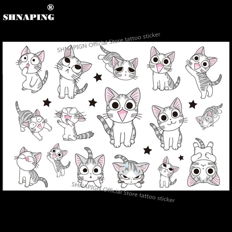 SHNAPIGN White Kitty Cats Child Temporary Body Art Flash Tattoo Sticker 10*17cm Waterproof Henna Fake Styling Tattoo Sticker