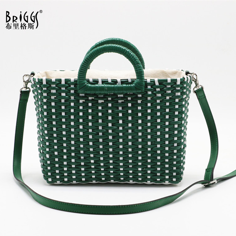 BRIGGS Hand-woven straw top-handle bag female women handbag Summer holiday beach bag for ladies luxury designer shoulder bagBRIGGS Hand-woven straw top-handle bag female women handbag Summer holiday beach bag for ladies luxury designer shoulder bag
