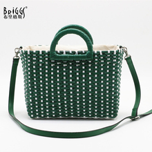 BRIGGS Hand-woven straw top-handle bag female women handbag Summer holiday beach for ladies luxury designer shoulder