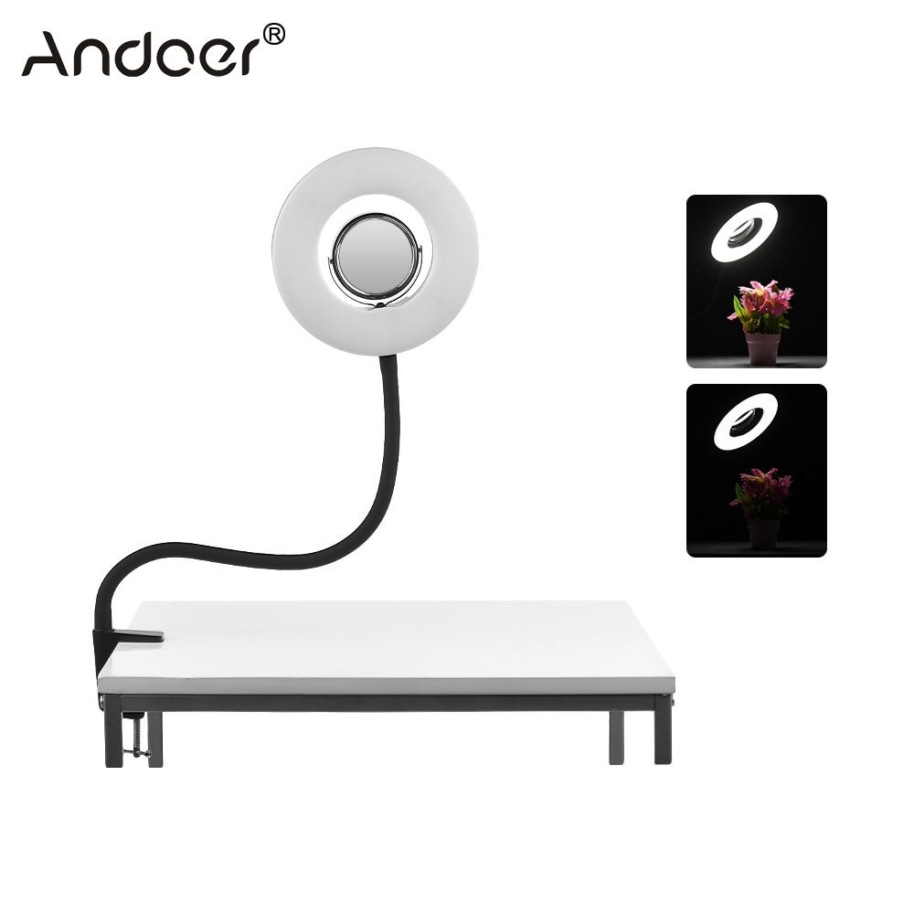 Andoer Tabletop 8inch 5500K LED Vedio Ring Light 24W with Makeup Mirror Deskclip Bendable Pole for