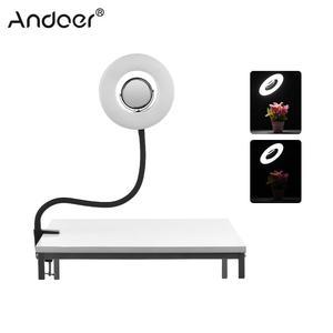 Image 1 - Andoer Masa Üstü 8 inç 5500 K LED Video halka ışık 24 W makyaj aynası Deskclip Bükülebilir Kutup Fotoğraf Canlı Video aydınlatma