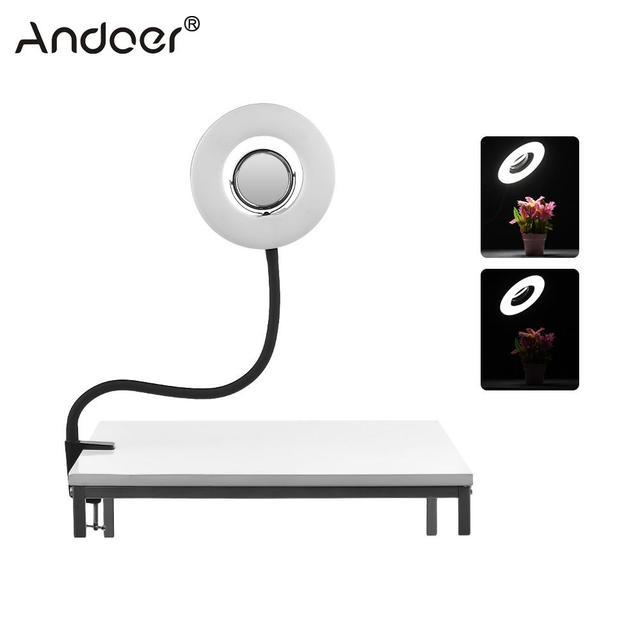 Andoer Masa Üstü 8 inç 5500 K LED Video halka ışık 24 W makyaj aynası Deskclip Bükülebilir Kutup Fotoğraf Canlı Video aydınlatma