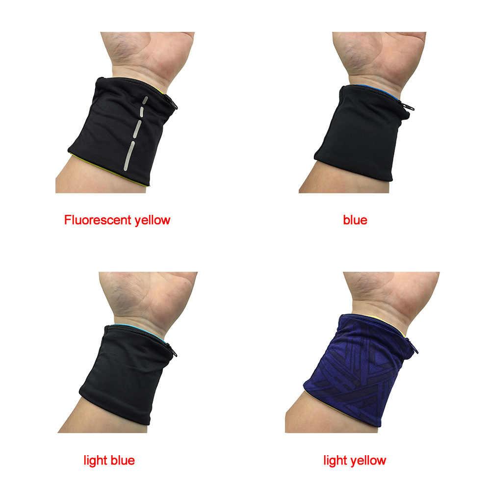 Muñequera elástica con cremallera diseño bolsa de soporte para muñeca correas para Fitness ciclismo deporte pulsera de voleibol bádminton Sweatband