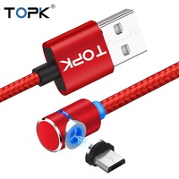 TOPK (L-Line) 1M 2M LED Magnetic Micro USB Cable Angle 90 Degree L Shape Nylon Braided Charger Cable for Micro USB Port