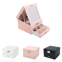 2019 Solid Color Double Layer Jewelry Box Make Up Cosmetics Makeup Organizer Storage Pill Container Drawer PU Cortex Simple