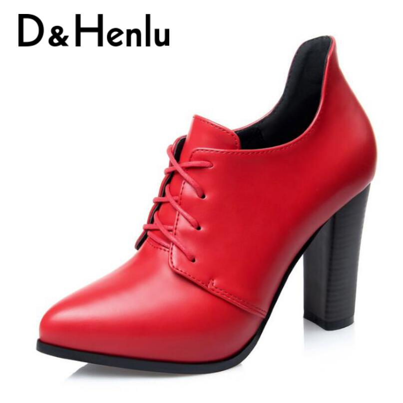 D&Henlu Special Sale Women Shoes Round Toe Shoes Woman Boots Thick Heel Boots Lace Up Square Heel Pumps 2018 Autumn High Heels xiaying smile woman pumps shoes women spring autumn wedges heels british style classics round toe lace up thick sole women shoes