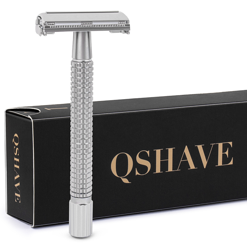 Qshave Double Edge Safety Razor Classic Safety Razor Silver Color Long Handle Butterfly Open, 1 Handle & 5 Blades