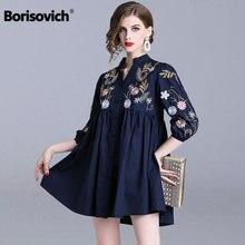 ネックルース女性カジュアルブラウスシャツ 女性の綿シャツ新 Borisovich 春のファッション花柄刺繍
