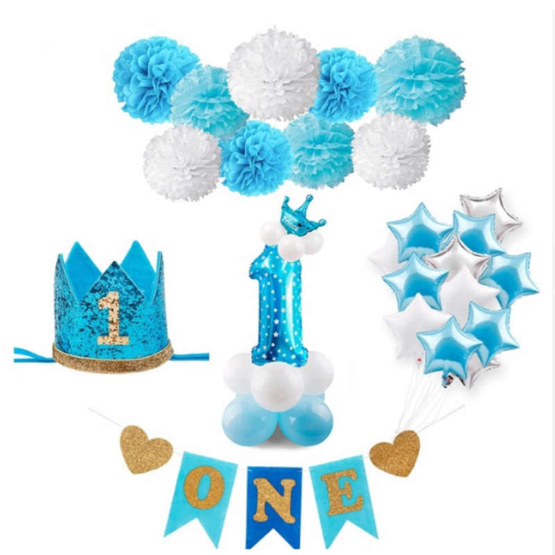 Blue pink 1 year birthday party decorations one year baby blue powder balloon it is a gift for boys and girls baby royal shower