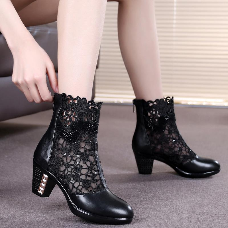 ФОТО spring and autumn Thick Mid Heel Genuine Leather Lace Cut Out Summer Women Fashion Sandals Ankle Boots