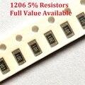 300 шт./лот SMD чиповый резистор 1206 91K/100K/110K/120K/130K/Ohm 5% сопротивление 91/100/110/120/130/K резисторы бесплатная доставка