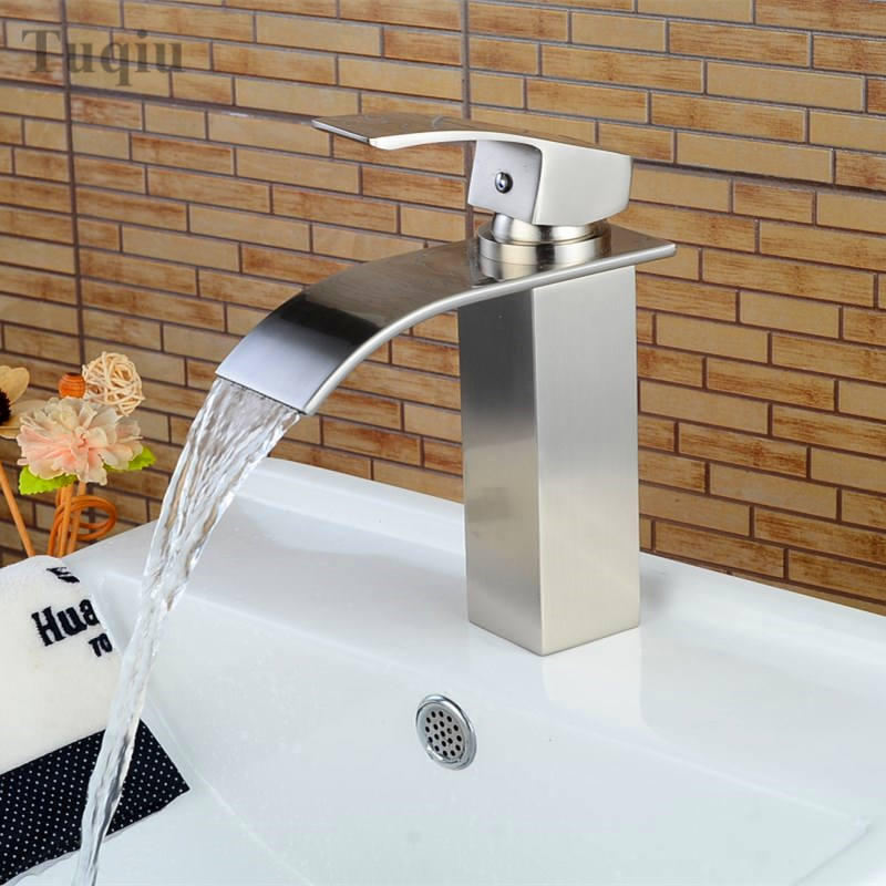 Free Shipping Bathroom Faucet High Quality Brass Nickel Finished - Nickel finish bathroom faucets