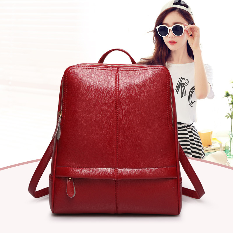 Buy new 2016 women genuine leather backpack preppy style school bags for Korean style fashion girl bag