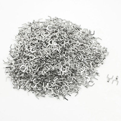 500 Pcs SNB1.25-6 AWG 22-16 Wire Connector Non Insulated Fork Terminals 1000pcs rnb2 8 awg 16 14 wire connector non insulated terminals cable lug