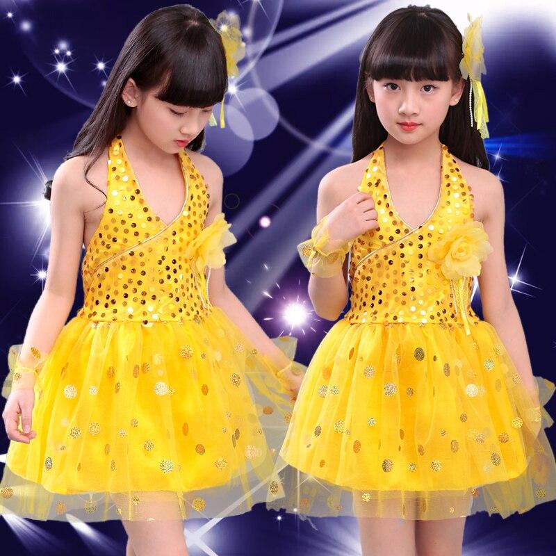Блестящими Пайетками современный танец костюмы, сценическая одежда для детей, платье для сцены и танцев, Одежда для танцев для девочек - Цвет: Цвет: желтый