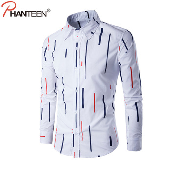 Phanteen Spring Long Sleeve Man Shirts Slim Fit Formal Dress Shirts Striped Print Casual White Shirt Fashion Design Men Clothing