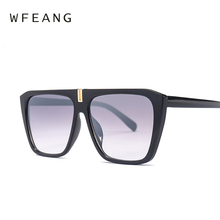 WFEANG Oversized Square Sunglasses Women Flat Top Fashion One cats eye Sun Glasses for Brand Shades Mirror uv400