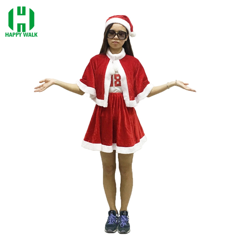 Newest 2019 Christmas Costume Carnival Party Sexy Girl Santa Velvet Holiday Dress With Hat One Size Women Santa Claus Costume