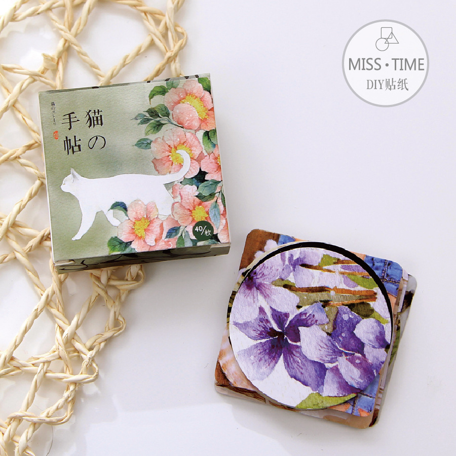 40 Pcs/ Box Cats Flowers Gel Stickers Decorative Sealing Sticker Planner Diary DIY  Masking Tape Post It Stationery Wholesale