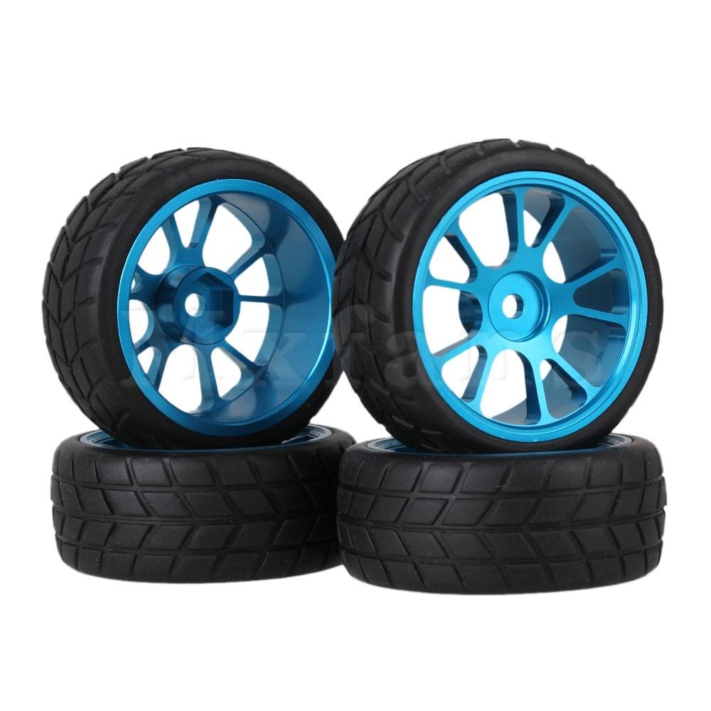 4 x RC1:10 On-Road Car Alloy 5-Spoke Wheel Rim Square Pattern Rubber Tire Black