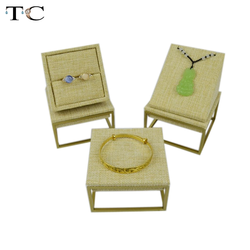 Stainless Steel Jewelry Display Linen Ring Pendant Stand Jewellry Cases 3pcs/lot Showcases For Rings