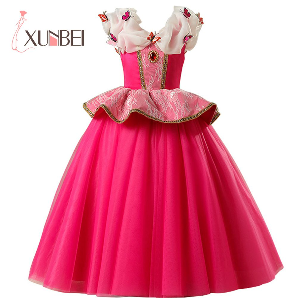 New Arrival Princess Rose Pink   Flower     Girl     Dresses   2019 Tulle Appliqued Pageant   Dresses     Girls   First Communion   Dresses