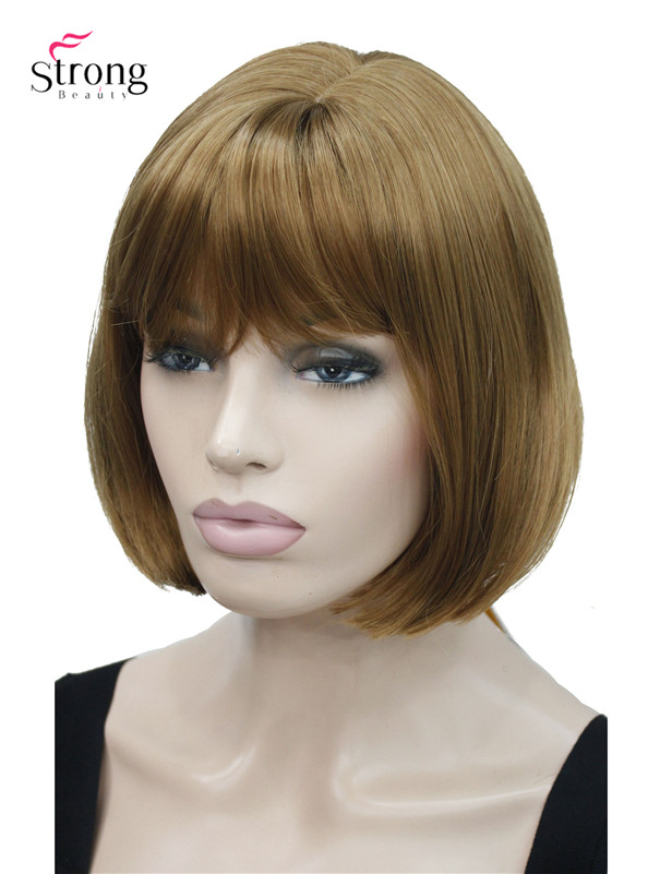Short Bob Strawberry Blonde with Bangs Full Synthetic Wig
