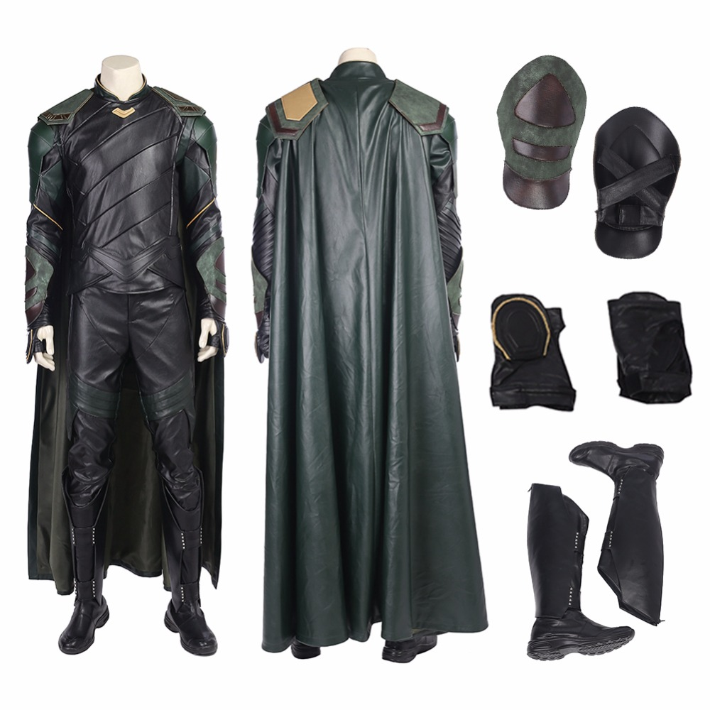 Top Quality Thor Ragnarok Loki Cosplay Costume Loki Costume Thor 3 Ragnarok Cosplay Dress For Halloween Men + Boots Cloak