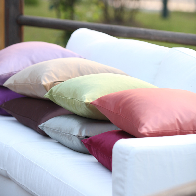 Imitated Silk Fabric Cushion Cover Thick Smooth Easy Care Solid Color Pillow Cover Case Sofa Chair Home Decor Without Stuffing