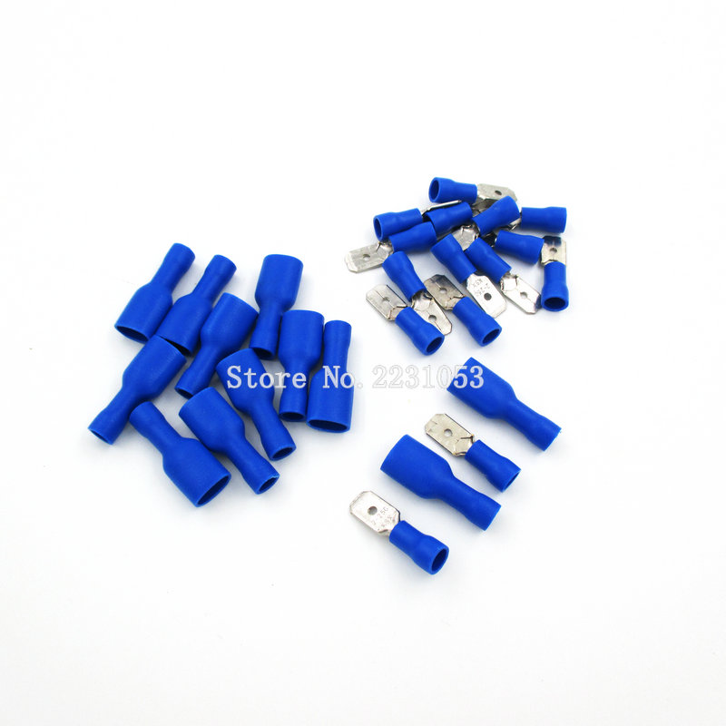 100pcs 50 Pair Fdfd2-250*50 Mdd2-250*50 16-14awg Blue Insulated Spade Crimp Wire Cable Connector Terminal Male/female Kit
