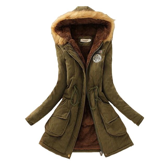 Mùa đông Phụ Nữ Coat 2017 Parka Casual Outwear Quân Đội Mũ Trùm Đầu Coat Woman Quần Áo Lông Thú Áo Khoác nữ Mùa Đông Áo Khoác Nữ CC001