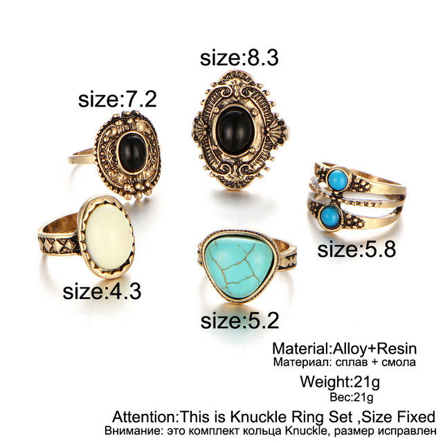 17KM 5 Pcs/Set  Antique Silver Color Bohemian Midi Ring Set Vintage Steampunk Anillos Knuckle Rings For Women Boho Jewelry