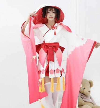 Hot Selling Onmyoji Game Full Set Lady Dress Costume With Wig and Geta for Women Halloween Wear Anime Cosplay Costume