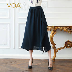 VOA Skirts Women A-Line Plus-Size Summer Office Elegant High-Waist 5XL Basic Solid Silk