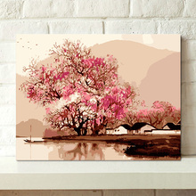 painting by numbers art paint by number Digital painting diy home decoration Chinese style living room Peach flowing water river недорого
