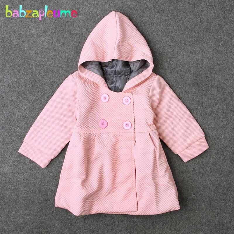0-18months/herfst Winter Baby Meisjes Clothing Jassen En Jassen Voor Pasgeboren Kleding Warm Hooded Leuke Roze Zuigeling Bovenkleding Bc1245