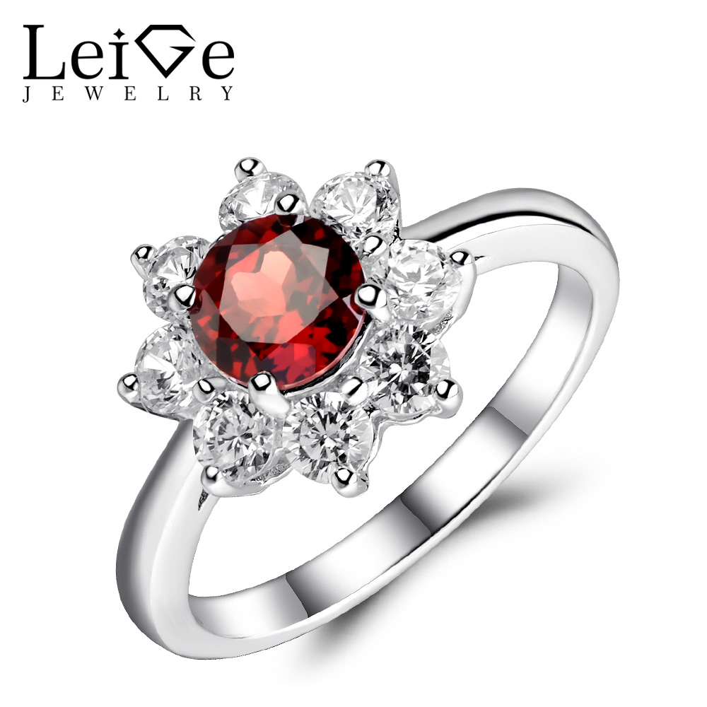 цена Leige Jewelry Genuine Red Garnet Ring Round Cut 925 Sterling Silver Fine Jewelry Wedding Engagement Rings January Birthstone