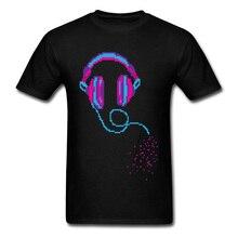 Pixel Music Headphones Black T-Shirts 100% Cotton Men Short Sleeve Tees Summer Autumn Top T-shirts Customized T-Shirt Retro