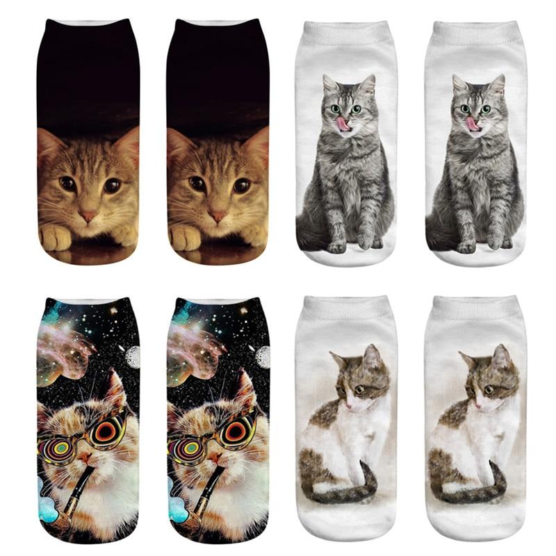 2019 New 3D Printing Women   Socks   Quality Brand   Sock   Fashion Female Short   Socks   Creative Design Cartoon Cat Funny Art   Socks   Hot